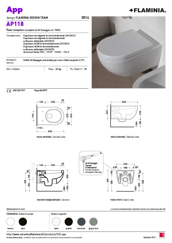 App toilet maatvoering AP118