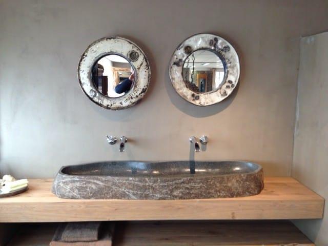 Natuurstenen wasbak-vintage spiegels