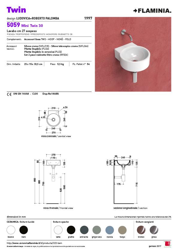 Mini Twin wand fontein 5059 maatvoering