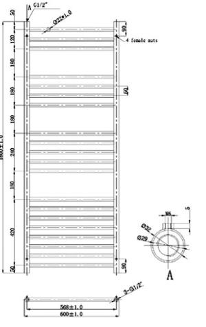 Maatvoering Brisk RVS Atens 600x1200