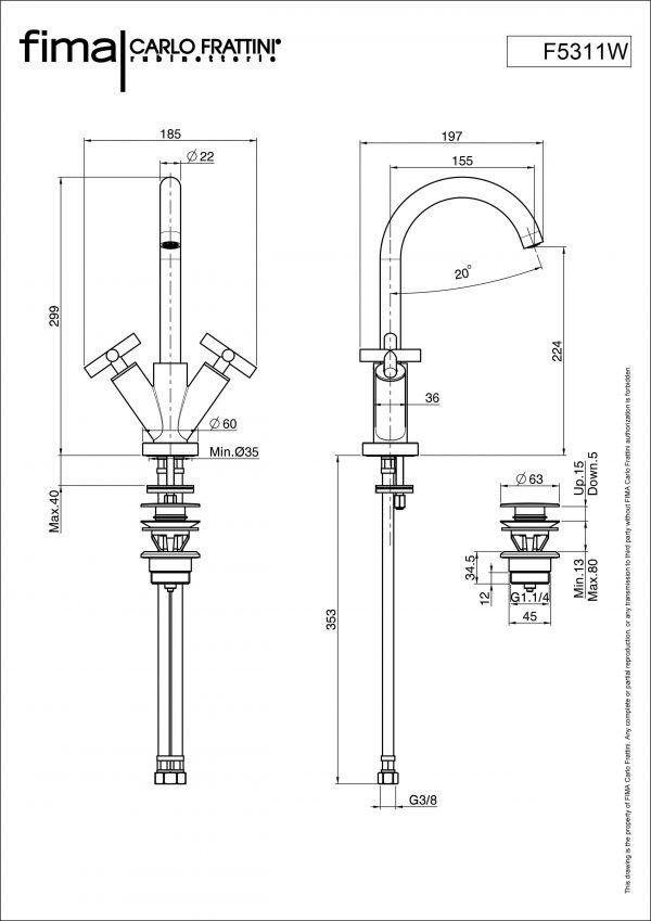 Maxima F5311W maatvoering
