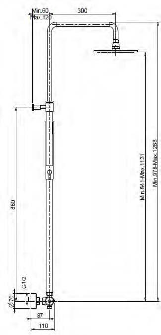 Douchekraan FIMA 4285.8.NL tekening opzij