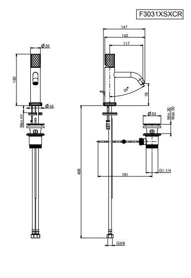 Spillo F3031XS maatvoering