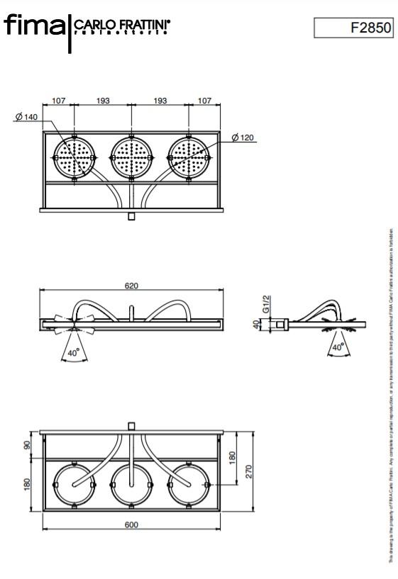 Maatvoering Design regendouche Nu
