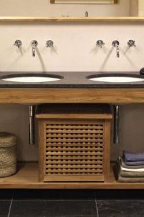 Wastafelmeubel 160 incl. wastafelblad met 2 keramische wastafels